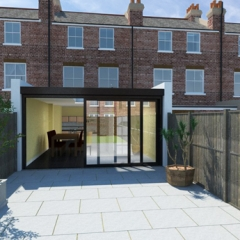 Glazed rear extension